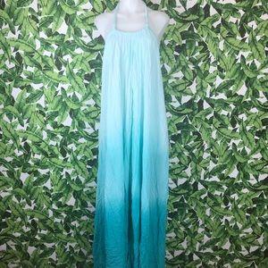 Elan Blue Ombré Halter Neck Open Back Maxi Dress